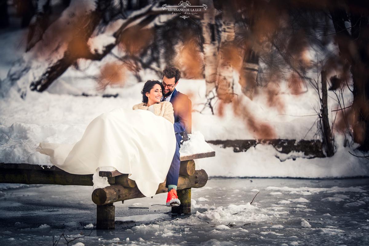 Postboda en la nieve en Rascafría