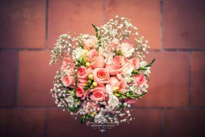Ramo de novia con rosas rosas
